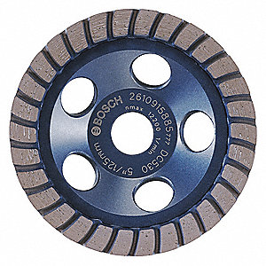 "5"" Turbo Segment Cup Grinding Wheel, 7/8"" Arbor, 12,200 Max. RPM, Segments: 30"