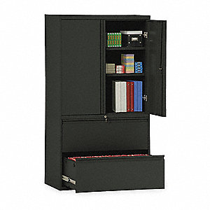 Lateral File Cabinet,36In W,2 Drawer,Blk
