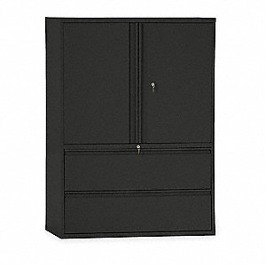 Lateral File Cabinet,42In W,2 Drawer,Blk