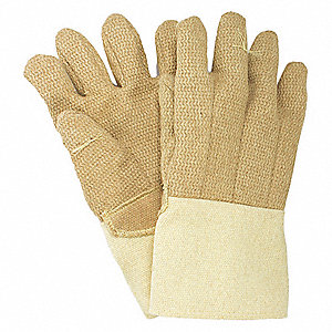 Heat Resistant Gloves, PBI/Kevlar®, 600°F Max. Temp., One Size Fits Most, PR 1