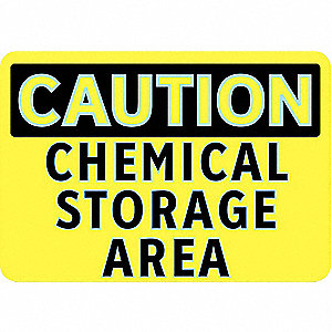 "Chemical, Gas or Hazardous Materials, Caution, Aluminum, 7"" x 10"", With Mounting Holes, Diamond"