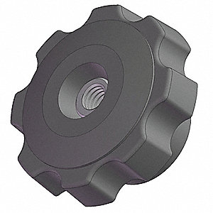 Fluted Knob, 2 3/8 In, Thru, 1/4-20