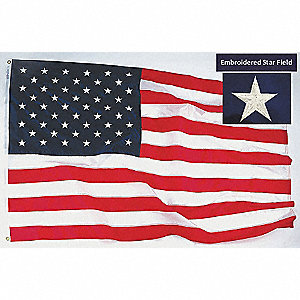 US Flag, 10 ft.H x 15 ft.W, Polyester