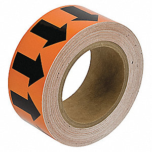 Arrow Tape,Black/Orange,2 In. W