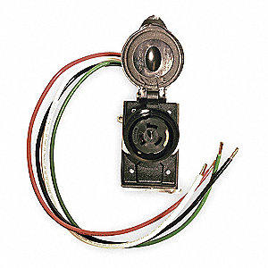 Cep 50 amp prewired receptacle 125 250vac 6 awg wire for Wire size for 125 amp service
