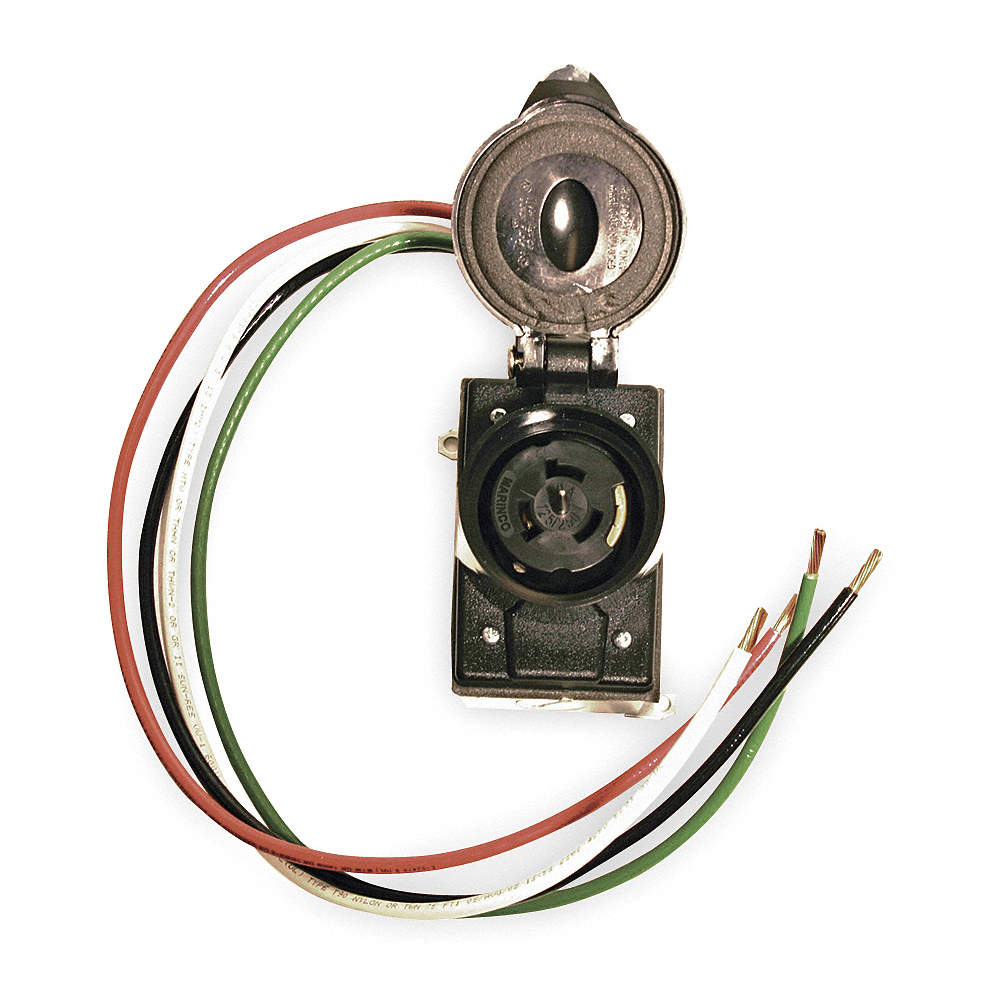 CEP 50 Amp Prewired Receptacle, 125/250VAC, 6 AWG Wire Size - 3GUK6 ...
