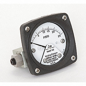 "1/4"" FNPT Differential Pressure Gauge with 2-1/2"" Dial, 0 to 25 psi, Aluminum"