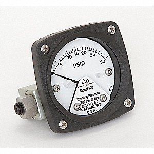 Pressure Gauge,0 to 30 psi