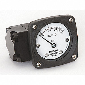"1/4"" FNPT Differential Pressure Gauge with 2-1/2"" Dial, 0 to 50 In. H2O, Aluminum"
