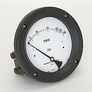DIFFERENTIAL PRESSURE GAUGE,0 TO 30