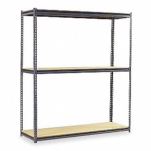 "96"" x 48"" x 84"" Steel Boltless Shelving Starter Unit, Gray&#x3b; Number of Shelves: 3"