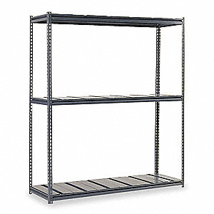 "60"" x 36"" x 84"" Steel Boltless Shelving Starter Unit, Gray&#x3b; Number of Shelves: 3"