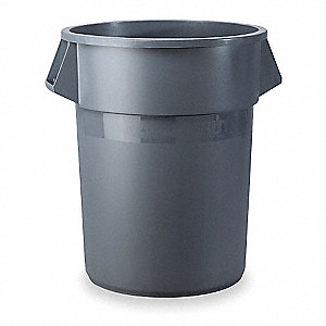 "BRUTE® 10 gal. Round Open Top Utility Trash Can, 17""H, Gray"