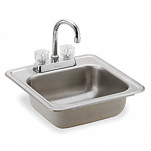 "15"" x 15"" x 5-5/8"" Drop-In Bar Sink Package with 12""x 10"" Bowl Size"