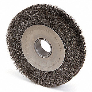 "10"" Crimped Wire Wheel Brush, Arbor Hole Mounting, 0.014"" Wire Dia., 1-7/8"" Bristle Trim Length, 1 E"