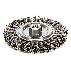 "6"" Twisted Wire Wheel Brush, Arbor Hole Mounting, 0.023"" Wire Dia., 1-1/4"" Bristle Trim Length, 1 EA"