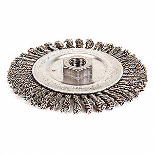 "5"" Twisted Wire Wheel Brush, Arbor Hole Mounting, 0.020"" Wire Dia., 7/8"" Bristle Trim Length, 1 EA"