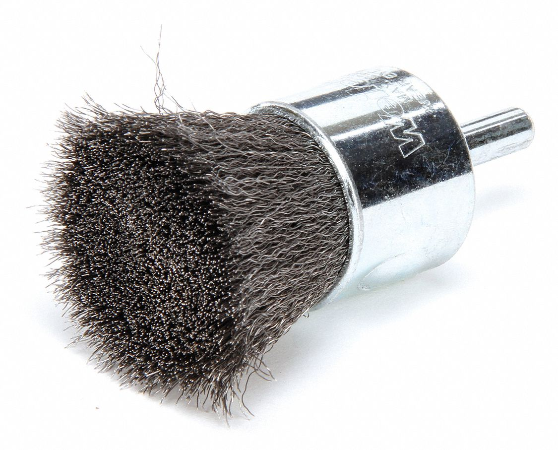 1 in Crimped Wire End Brush, 1/4 in Shank, 0.006 in Wire Dia., 7/8 in Bristle Trim Length