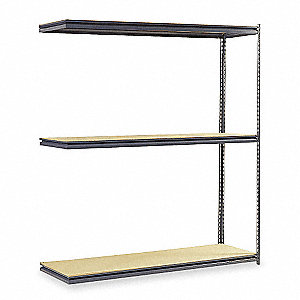"Add-On Boltless Shelving with Particle Board Decking, 3 Shelves, 72""W x 24""D x 84""H"