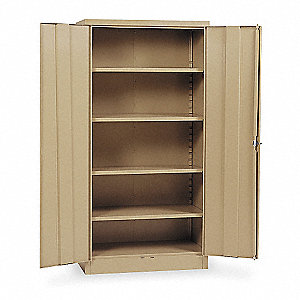 "Storage Cabinet, Tan, 72"" Overall Height, Unassembled"