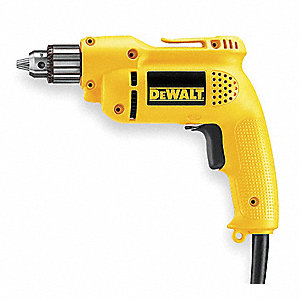 "3/8"" Electric Drill, 6.0 Amps, Pistol Grip Handle Style, 120VAC"