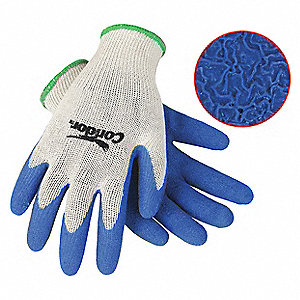 10 Gauge Crinkled Natural Rubber Latex Coated Gloves, Glove Size: XL, Blue/Natural