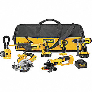 Cordless Combination Kit, Voltage 18.0 NiCd, Number of Tools 6