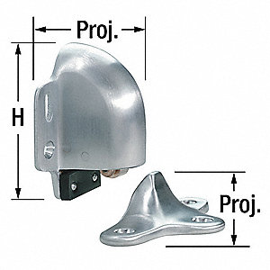 Door Stop, Floor Mount, Satin Chrome