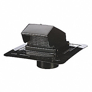 Wall/Roof Cap,Duct Sz 4 In,Black Plastic