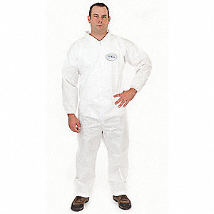 Collared Disposable Coveralls with Elastic Cuff, White, 2XL, BodyFilter 95+®