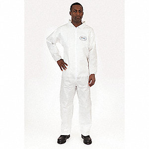 Collared Disposable Coveralls with Elastic Cuff, BODYFILTER 95+® Material, White, XL