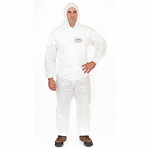 Hooded Disposable Coveralls with Elastic Cuff, White, M, BodyFilter 95+®
