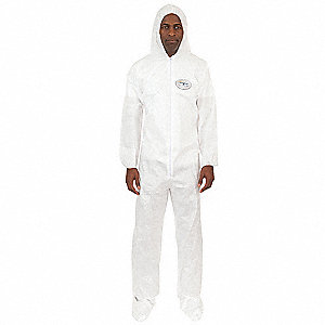 Hooded Disposable Coveralls with Elastic Cuff, White, L, BodyFilter 95+®