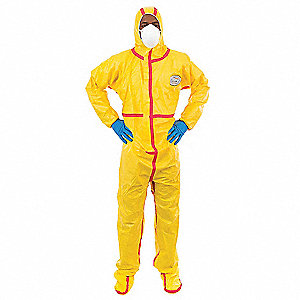 Hooded Chemical Resistant Coveralls with Elastic Cuff, Yellow, XL, Chemsplash 1®