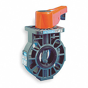 "Wafer-Style Butterfly Valve, CPVC, 150 psi, 2"" Pipe Size"