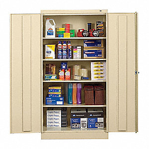 "Storage Cabinet, Champagne/Putty, 72"" Overall Height, Unassembled"