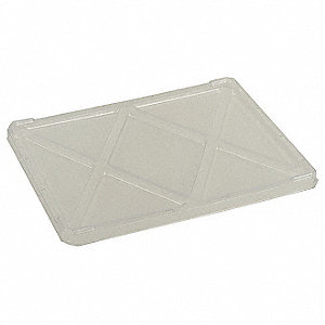 "Modular Tote Box Lid, Clear, 22-3/8"" Outside Length, 17-3/8"" Outside Width, 1/2"" Outside Height"