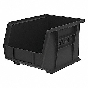 "Hang and Stack Bin, Black, 10-3/4"" Outside Length, 8-1/4"" Outside Width, 7"" Outside Height"