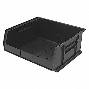 "Hang and Stack Bin, Black, 14-3/4"" Outside Length, 16-1/2"" Outside Width, 7"" Outside Height"
