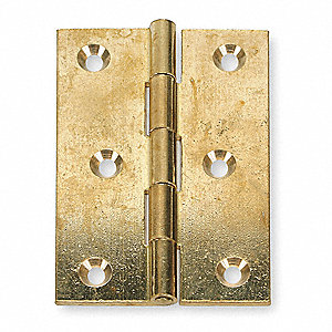 "1-1/2"" x 1-1/2"" Butt Hinge with Bright Brass Finish, Full Surface Mounting, Square Corners"