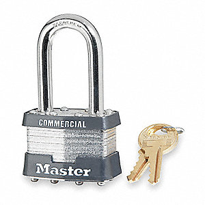 "Different-Keyed Padlock, Open Shackle Type, 1-1/2"" Shackle Height, Silver"