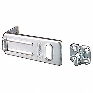 "Conventional Fixed Staple Hasp, 3-1/2"" Length, Steel, Zinc Plated Finish"