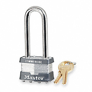 "Alike-Keyed Padlock, Extended Shackle Type, 2-1/2"" Shackle Height, Silver"