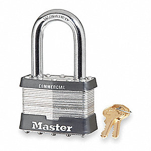 "Different-Keyed Padlock, Open Shackle Type, 2"" Shackle Height, Silver"