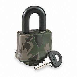 "Different-Keyed Padlock, Open Shackle Type, 3/4"" Shackle Height, Camouflage"