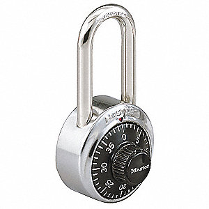 "Combination Padlock Front-Dial Location, 1-1/2"" Shackle Height"