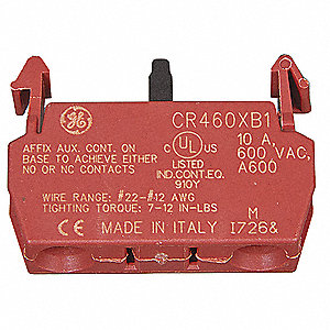 Lighting Contactor Auxiliary Contact Block, 10 Amps, Instantaneous Type, Front Mounting