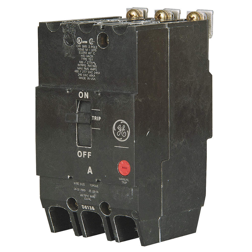 GE Bolt On Circuit Breaker, 100 Amps, Number of Poles: 3, 277/480VAC ...
