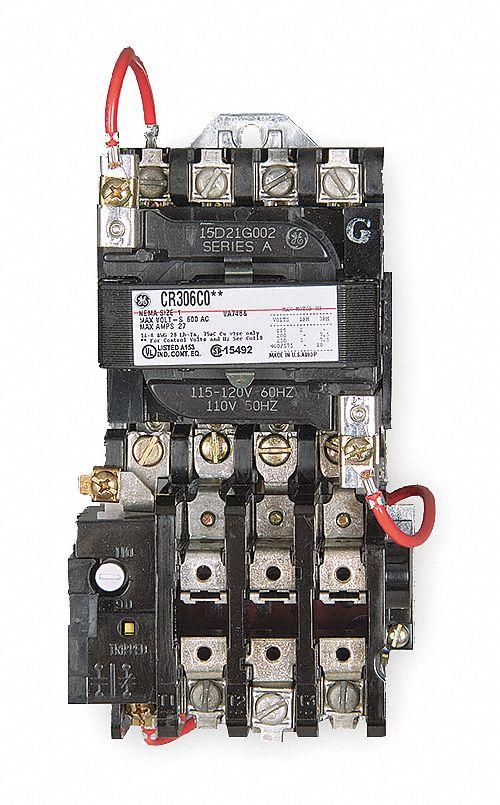 GE Magnetic Motor Starter, 120V AC Coil Volts, NEMA Size: 0, Starter Type:  NEMA - 3HXY9|CR306B002 - Grainger | Ge Magnetic Starter Wiring Diagrams |  | Grainger