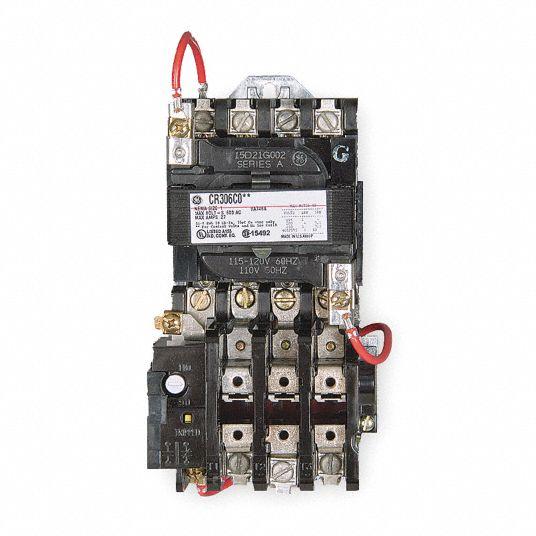 GE Magnetic Motor Starter, 120V AC Coil Volts, NEMA Size: 0, Starter Type:  NEMA - 3HXY9 CR306B002 - Grainger   Ge Motor Starter Wiring Diagrams      Grainger